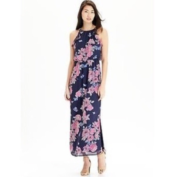 ae1a03e0a9d Old Navy blue and pink floral chiffon maxi dress!!  M_5ab02af6a6e3ea6aa25d3a20